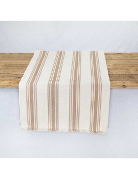 Table runner striped Ona Taupe